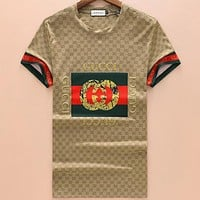 GUCCI 2018 summer new couple classic double G printing round neck T-shirt F-A00FS-GJ Khaki
