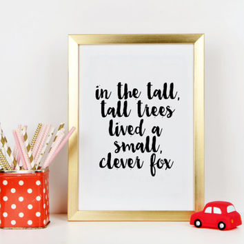 Nursery print Home decor Clever Fox Nursery Art, Woodland Nursery Prints, Modern Nursery/Kids Room Art, Cute Woodland Nursery artwork