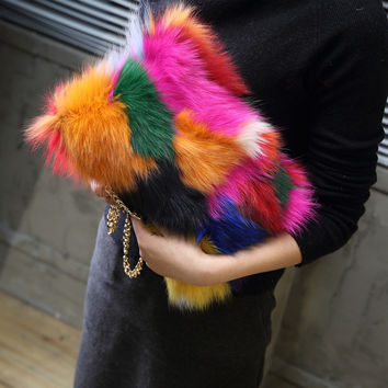 New 2017 Colorful Real Fur Women Shoulder Bag Fox Fur Causal Clutch Bag Leather Women's Bag Lady Chains Handbag Luxury Purse