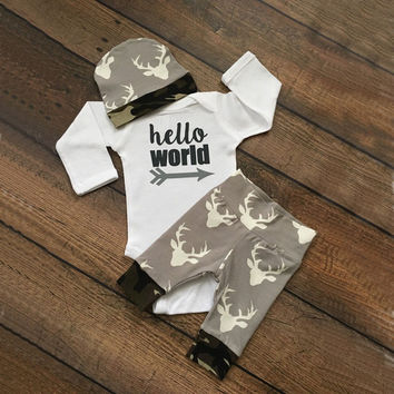 3pcs/set 2016 autumn baby clothes set Kid baby boys girls Cotton Tops Romper+Deer Leggings Pants Outfits Set Clothing