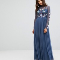 Maya Long Sleeved Maxi Dress with High Neck and Embellishment at asos.com