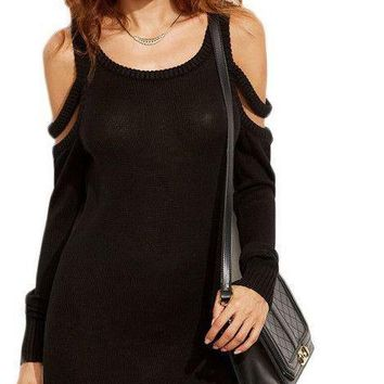 COLROVIE Black Strappy Cold Shoulder Sheath Mini Sweater Dress Fall Women Round Neck Long Sleeve Bodycon Dress