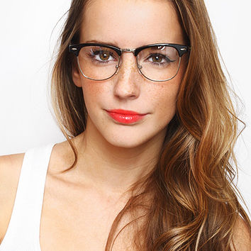 'Peyton' Unisex Metal Clear Clubmaster Glasses - Tortoise/Gold #1223-5