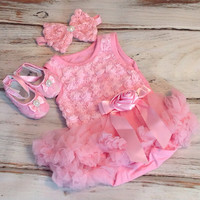 Girls tutu - Baby Tutu dress- baby tutu Onesuit- pink tutu - pink pettiskirt -First Birthday dress-Wedding, Pettiskirt,  Onesuit Tutu