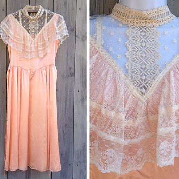 Vintage dress | 80s Gunne Sax Edwardian Revival Victorian style peach satin bridesmaid gown maxi dress
