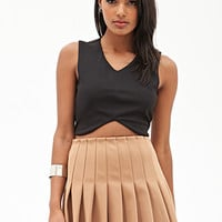 FOREVER 21 Pleated Skater Skirt Camel