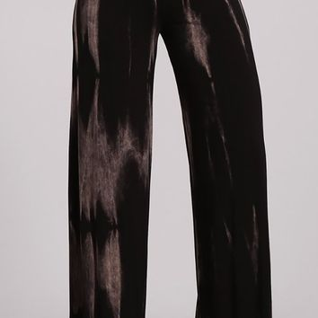 Widen Your Heart Dark Brown Tie Dye High Waist Fold Over Wide Leg Loose Palazzo Pants