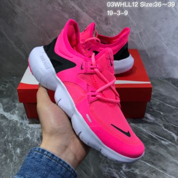 DCCK2 N984 Wmns Nike 2019 Free Rn Flyknit 5.0 Running Shoes Rose Red
