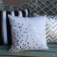 Gold Foil confetti dot pillow cover on medium weight ivory twill cotton blend- slipcover only