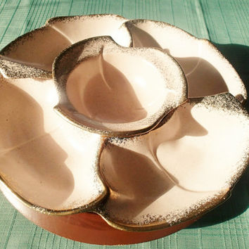 Mid Century Lazy Susan Appetizer set USA California Original Pottery 4 piece serving set, rotating tray Hors D Oeuvres relish chip and dip,