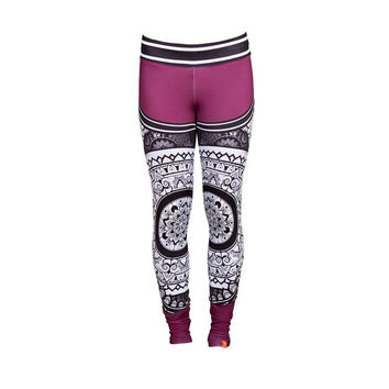 PURPLE Printed SATTVA Leggings Unique Activewear Yoga Fitness Climbing Dance Pilates Breathable