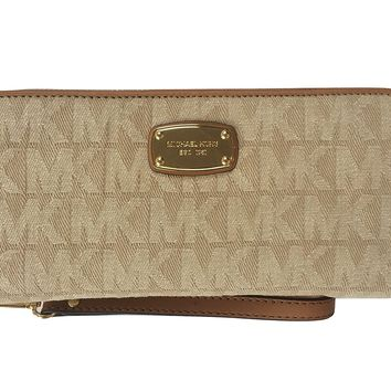 Michael Kors Jet Set Travel Continental Jacquard Zip Around Wallet Wristlet