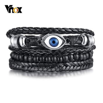 Vnox 3 pcs/ Set Evil Blue Eyes Bracelets for Men Multi Layered Leather Bangle Wood Beads Adjustable Male Pulseira