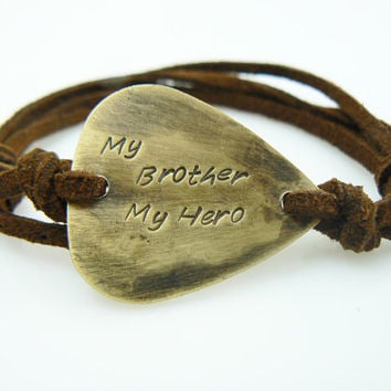 My Brother Hero Guitar Pick Bracelet Gift For Hand