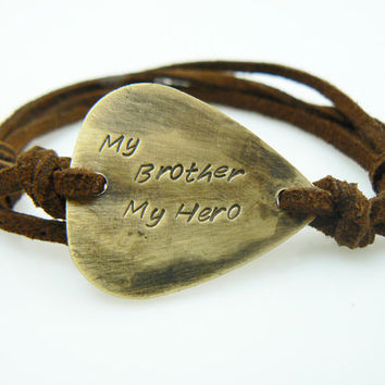 My Brother My Hero Guitar Pick Bracelet, Gift for Brother, Hand Stamped,, Brass or Aluminum, Birthday,