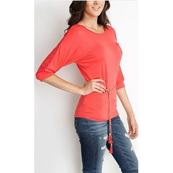 Scoop Neck Top with Gold Belt - Coral