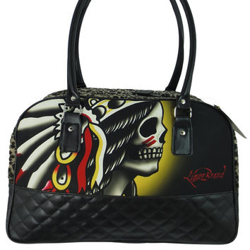 Liquor Brand Chieftain Indian Chief Skull Tattoo Rockabilly Punk Overnight Large Handbag Purse