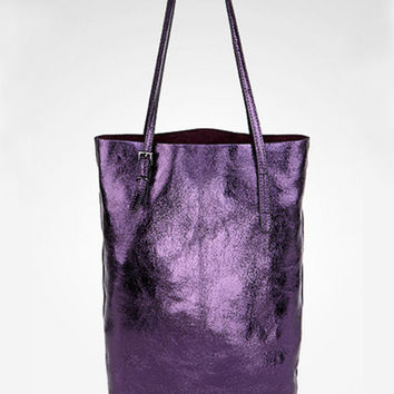 Purple Distressed Leather Leather Tote. Metallic Medium Shopper Bag. Weekend Bag. Genuine Leather