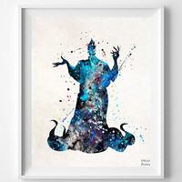 Hades Print, Hercules Poster, Disney Poster, Watercolor Art, Baby Shower, Illustration, Painting, Wall Art, Nursery Room, Fathers Day Gift