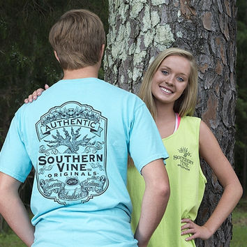 Southern Vine Originals Flagship Roots Run Deep Tree Authentic Unisex Lagoon  Bright T Shirt