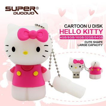 lovely usb pendrive 64GB Hello Kitty Usb Flash Drive 64gb Pen Drive 32gb Pendrive 4gb 8gb 16gb Cartoon U Disk Memory stick pink