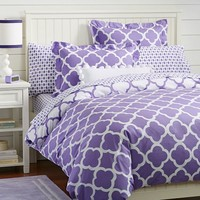 Lucky Clover Reversible Duvet Cover + Sham, Purple