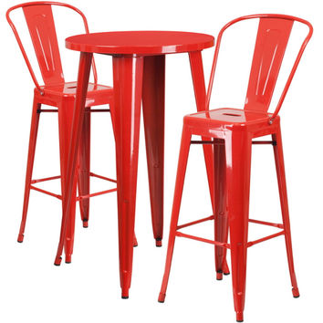 24'' Round Red Metal Indoor-Outdoor Bar Table Set with 2 Cafe Barstools