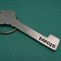 Doctor Who Inspired - TARDIS - A Hand Stamped Aluminum Keychain