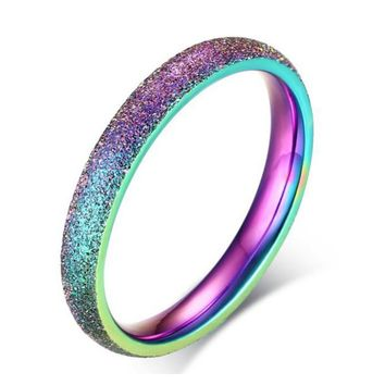 Women's Fashion 3MM Stainless Steel Sandblasted Color Ring