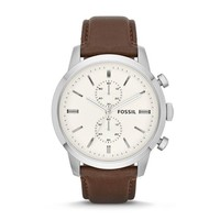 Townsman Chronograph Leather Watch, Brown | FOSSIL