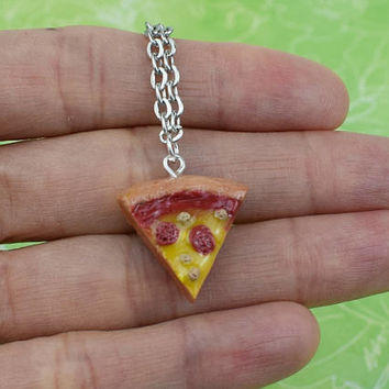 Pizza Necklace | Polymer Clay | Miniature Food | Handmade Gift | Charm Necklace | Cute Kawaii | Realistic