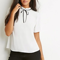Bow Ruffle-Neck Top