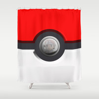 Pokeball Shower Curtain by Shea Kennedy