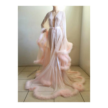 Luxury Sheer Fur Robe Lingerie. Feather trim robe with satin ties. High quality lingerie