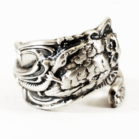 Spoonier Exclusive Owl Spoon Ring with Snake in Eco Friendly Sterling Silver, Handcrafted & Adjustable to Your Size (2179)