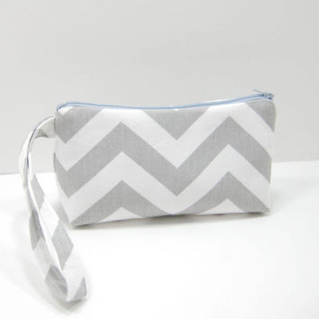 Gray Chevron Pouch, Zippered Accessory Pouch, Cosmetic Pouch, Zippered Wristlet, Ready to Ship