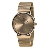 Skagen SKW2130 Women's Ancher Denmark Rose Gold Dial Rose Gold Plated Steel Mesh Bracelet Watch