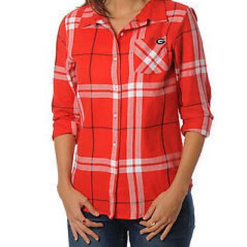 DCCKG8Q NCAA Georgia Bulldogs Womens Boyfriend Long Sleeve Plaid Top