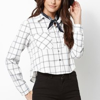 Kendall & Kylie Plaid Cropped Button-Down Shirt - Womens Shirts - Plaid