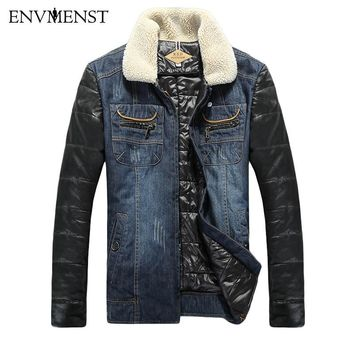 Envmenst Brand Plus Size Men's Thick Denim Fur Collar Lined Jacket/Coat