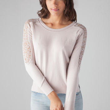 Rebecca Taylor L/S PO W/ Lace Sleeve Sweater