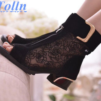 2017 fashion women's spring and summer shoes open toe sandals lace net boots thick heel mujer sandals gladiator gauze  size35-39
