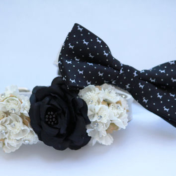 Black and White Dog Collars -Two Wedding floral Dog collar and dog bow tie