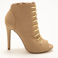 Gold Bar Nude Bootie Heels