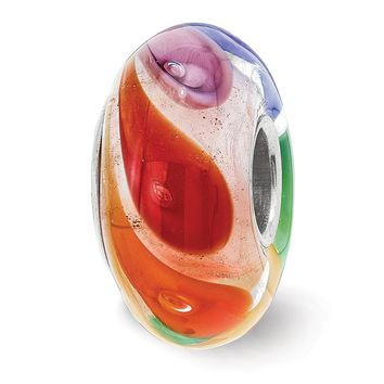 Fenton Sterling Silver Hand Blown Don't Miss The Rainbow Glass Charm