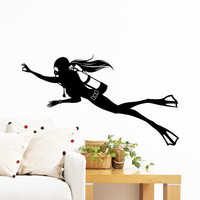 Wall Decal Vinyl Sticker Decals Art Home Decor Design Mural Diving Scuba Diver Deep Sea Ocean Extreme Sports Sportsman Gift Kids Dorm AN284