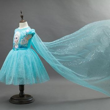 1Pc, Retail,Girls tutu Dress + Cape 2pcs Children Elsa Anna Sequins Princess Dresses Baby Girl Party 2017 New Kids Clothes Blue