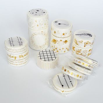 New Gird/Flower/Starry/Planet Washi Masking Tape Office Adhesive Tape Craft Sticker School Supply for Student Plannners
