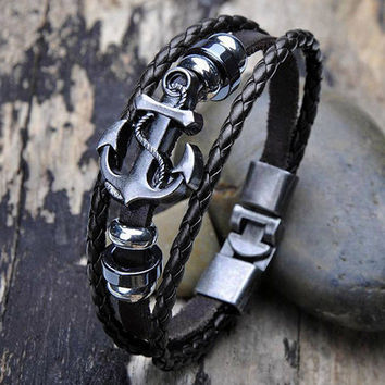 Fashion New Men Vintage Metal Anchor Steel Studded Surfer Faux Leather Bangle Cuff Bracelet BJTU