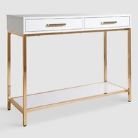 White and Gold Reid Console Table with Drawers